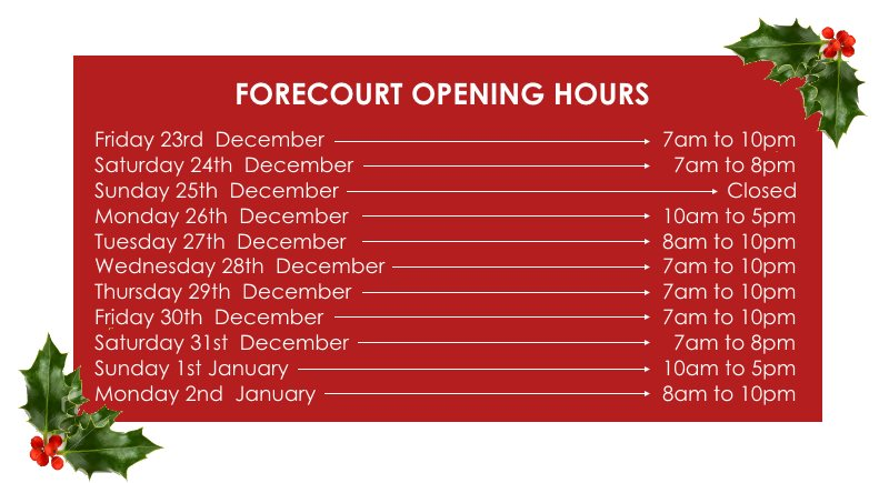 Forecourt Opening Hours for Christmas 2016