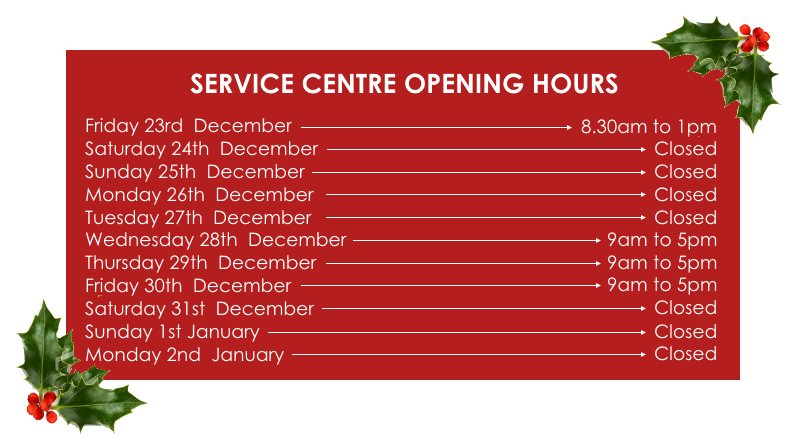 Service Centre Opening Hours for Christmas 2016
