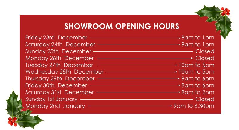 Showroom Opening Hours for Christmas 2016